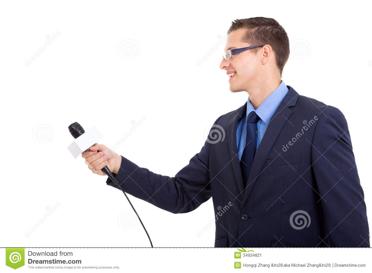 Side view of journalist interviewing with microphone on white ...
