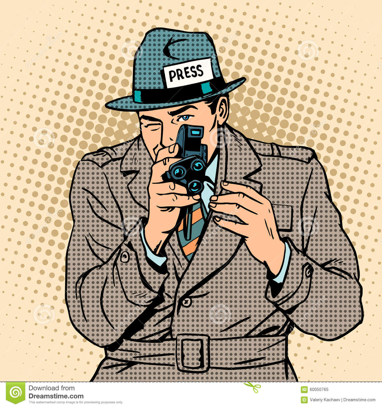 Journalist takes on retro camera paparazzi stock vector for Paparazzi clipart