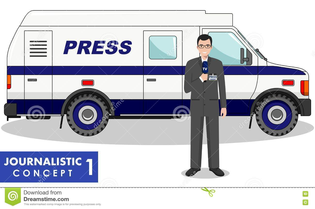 journalistic concept. detailed illustration of reporter and tv or