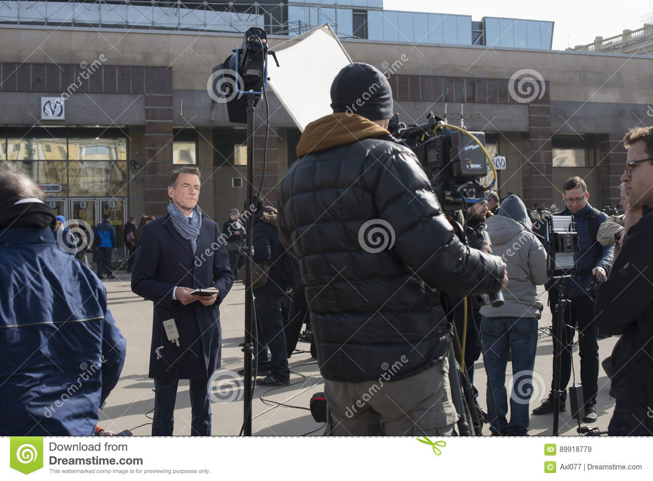 Journalists Are Reporting From The Scene  Editorial Stock Image