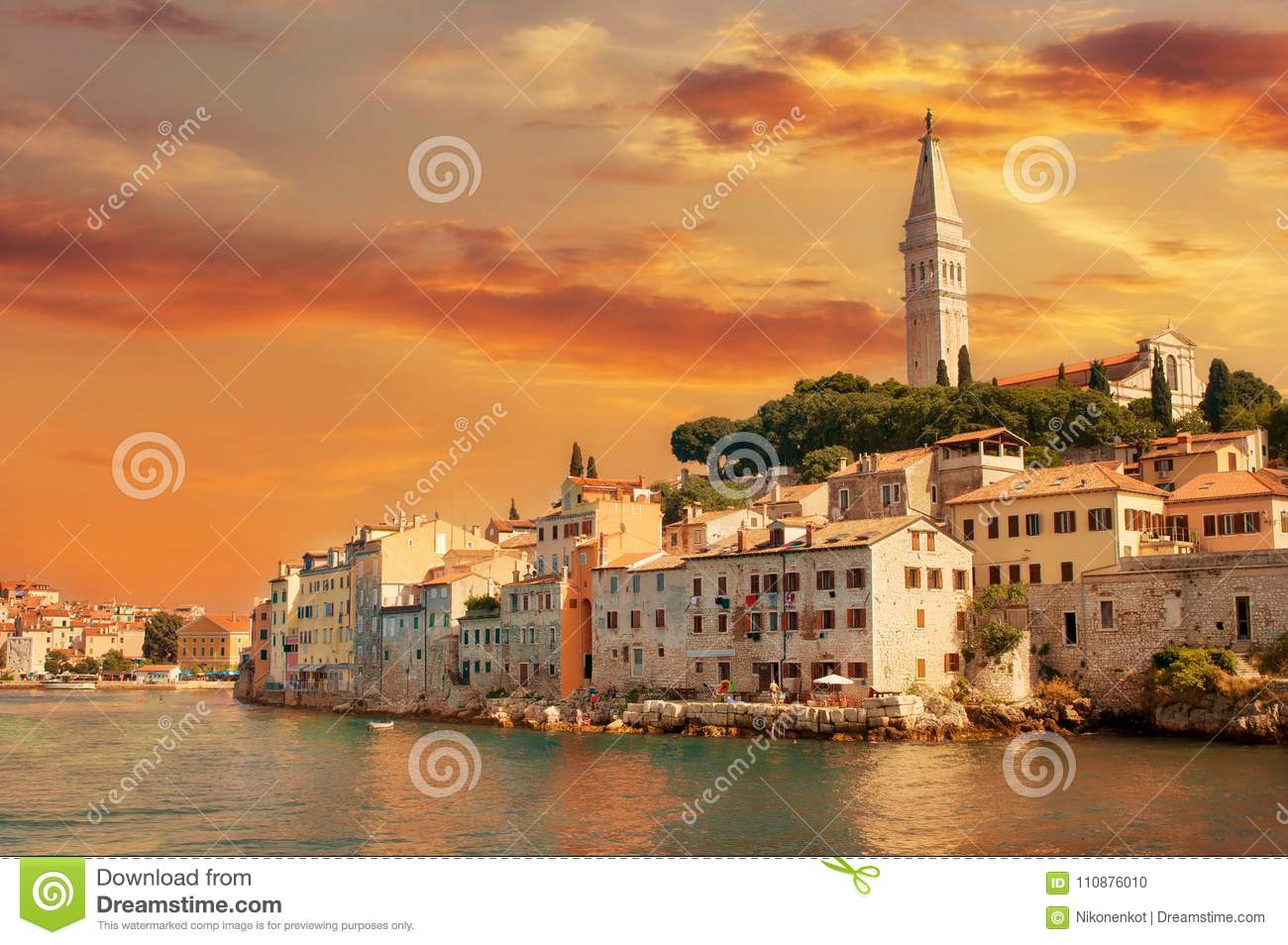 Journey through Europe, Croatia view from the sea to the City of Rovinj