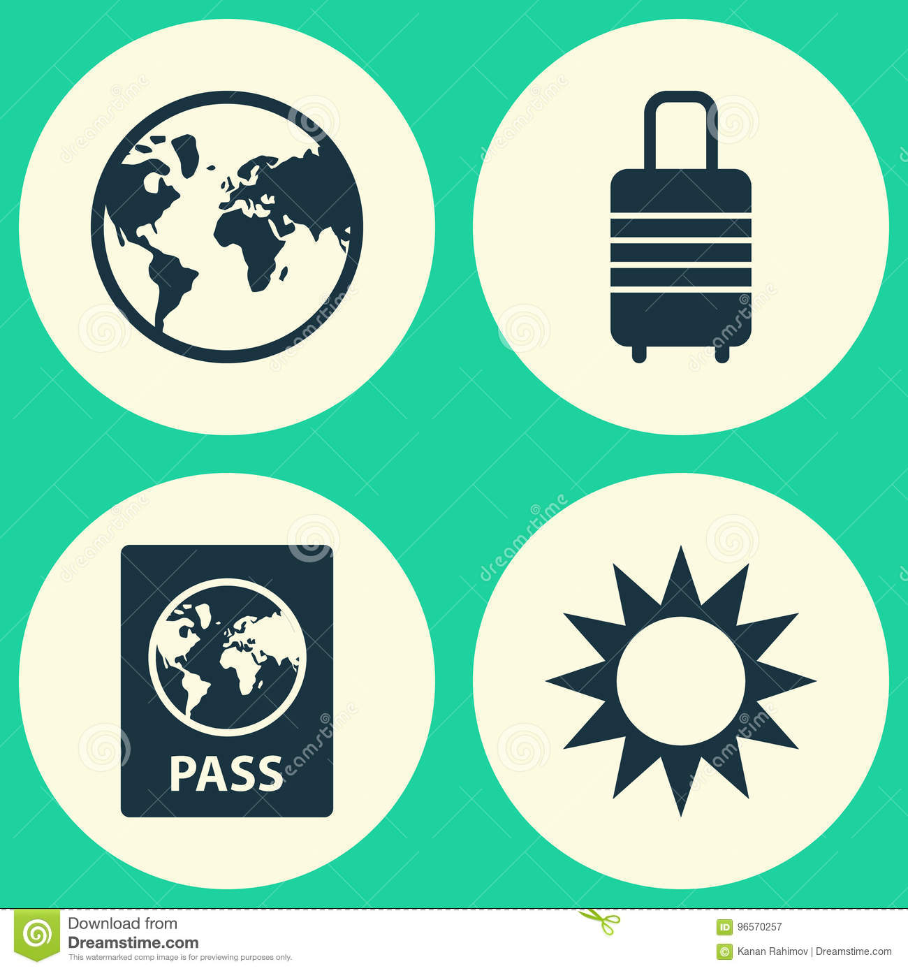 Journey icons set collection of suitcase sunny certificate and collection of suitcase sunny certificate and other elements also includes symbols such as buycottarizona