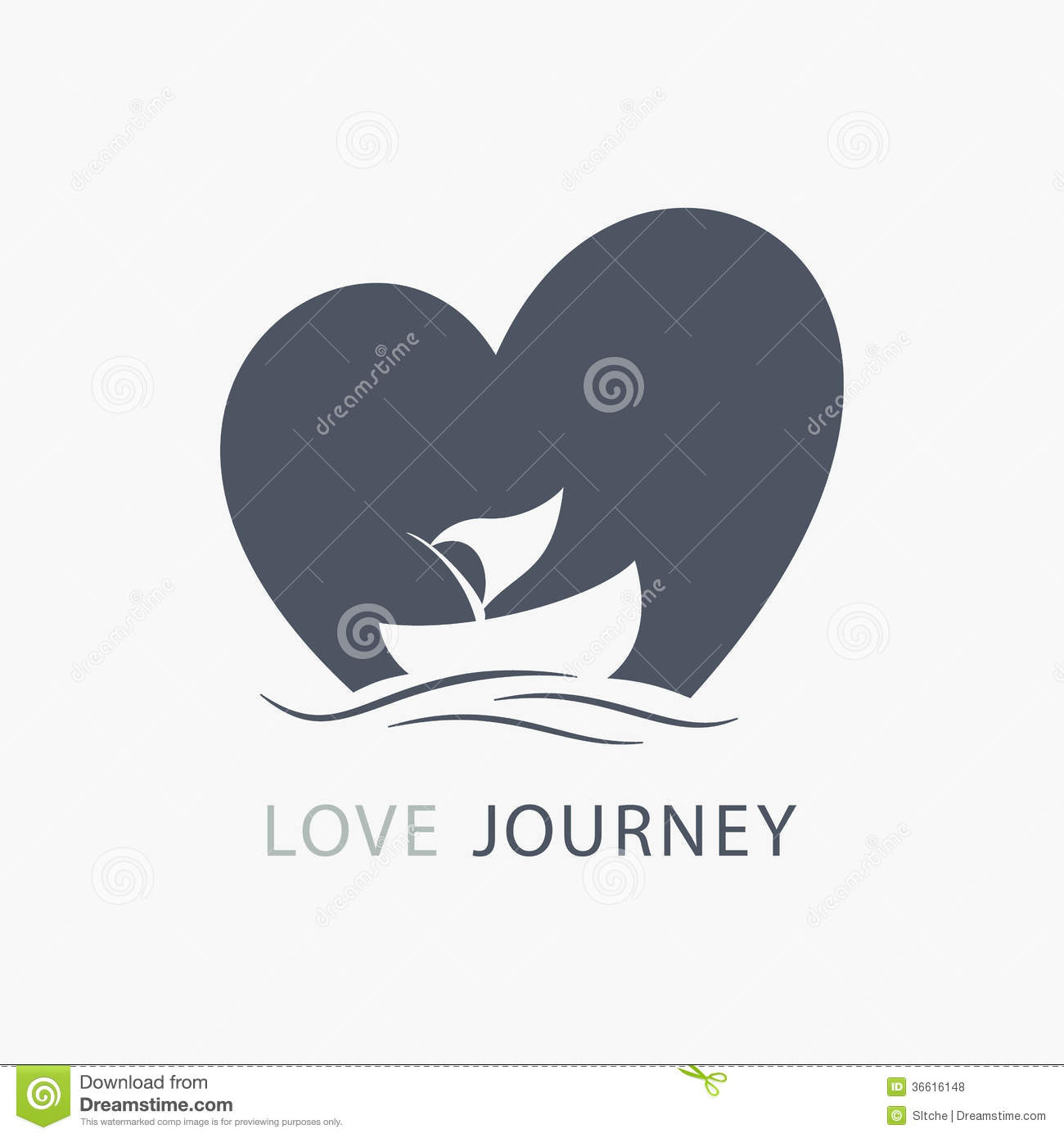 Journey Of Love Boat Logo With Heart Shape Background Royalty Free Stock Photos - Image: 36616148