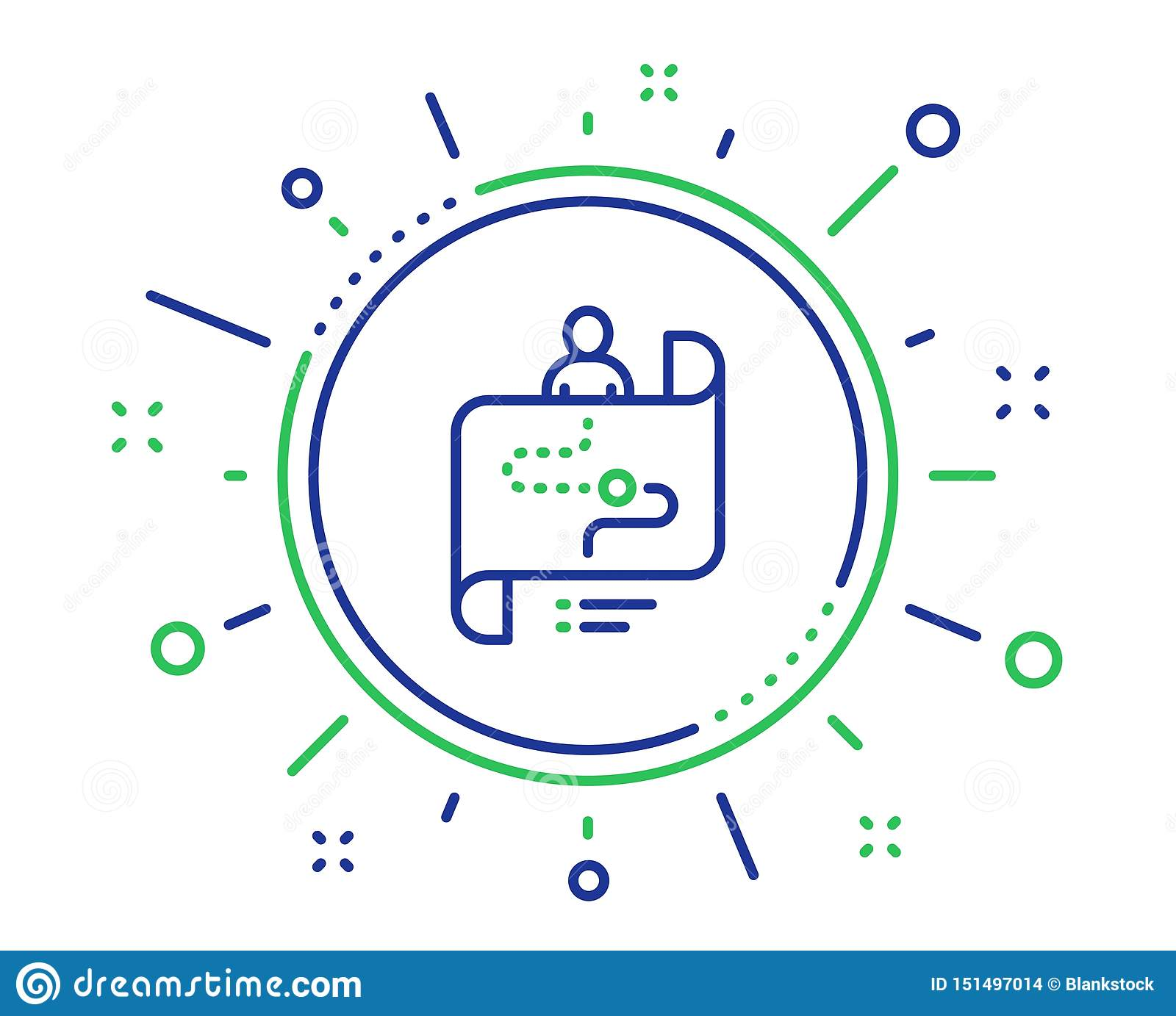 Journey Path Map Line Icon. Project Process Sign. Vector ...