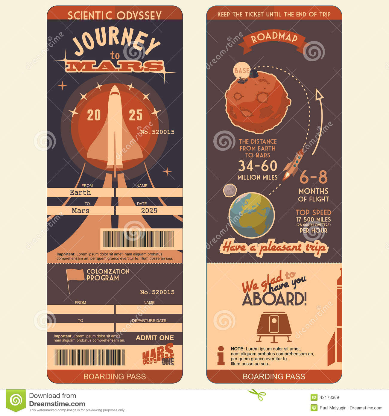 Journey to mars boarding pass stock vector image 42173369 for Boarding pass sleeve template