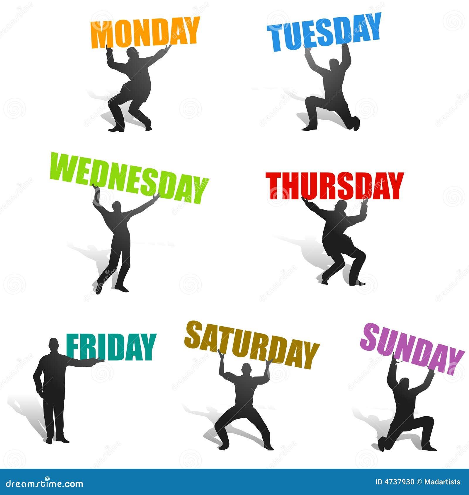 Jours des silhouettes de semaine