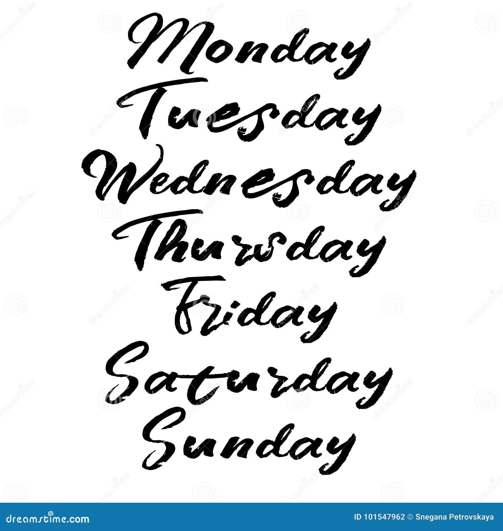Jours manuscrits de semaine Calligraphie moderne de brosse