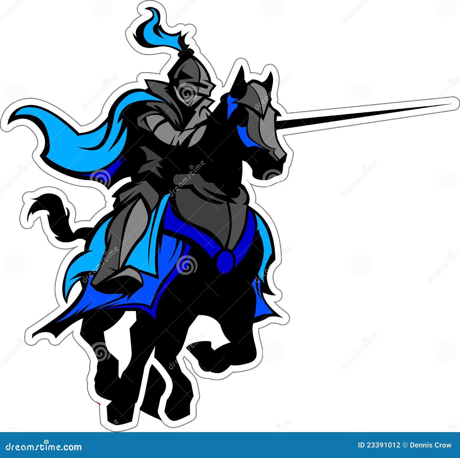 Black Knights Logo Design Jousting Blue Knight M...
