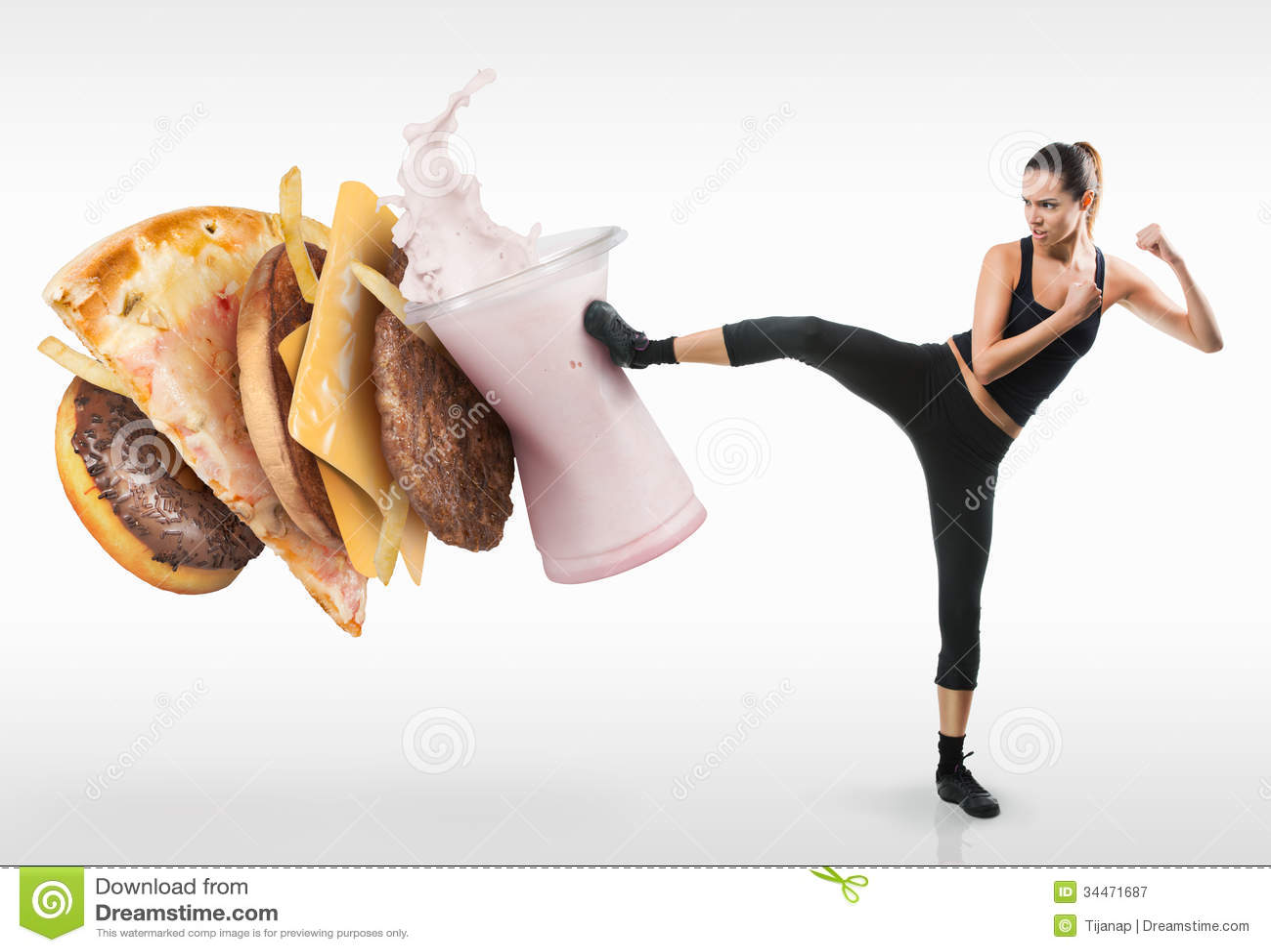Jovem mulher apta que luta fora o fast food