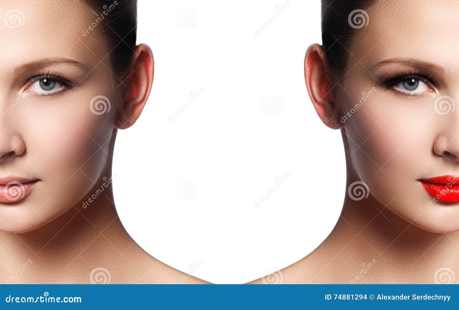 Jovem mulher bonita antes e depois da aplicação da composição Compari