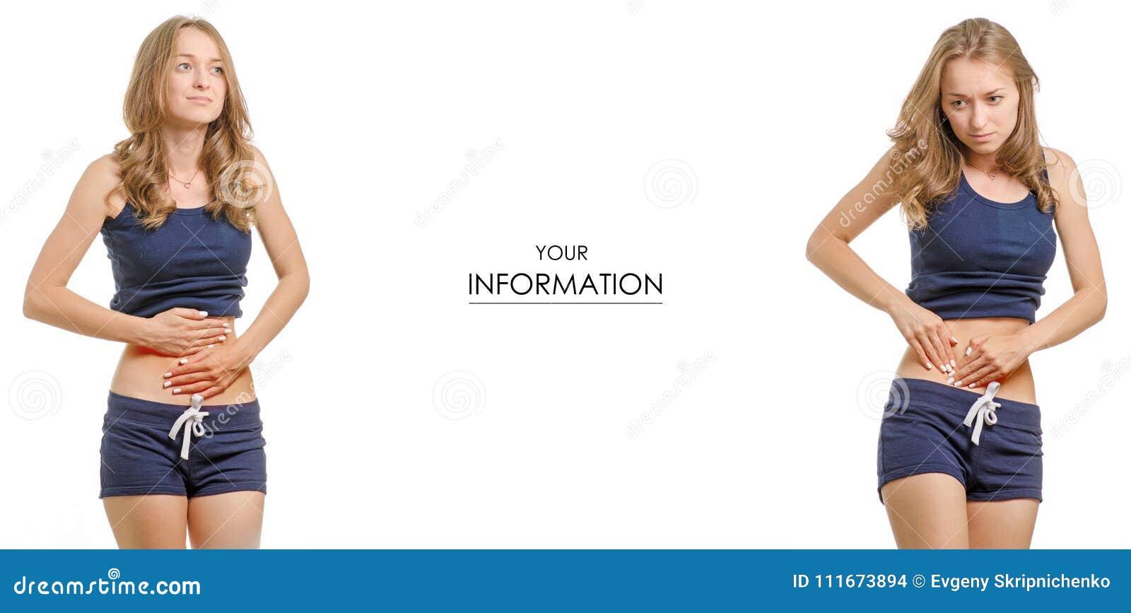 Jovem mulher bonita da medicina saudável abdominal da dor do t-shirt e do short em teste padrão ajustado