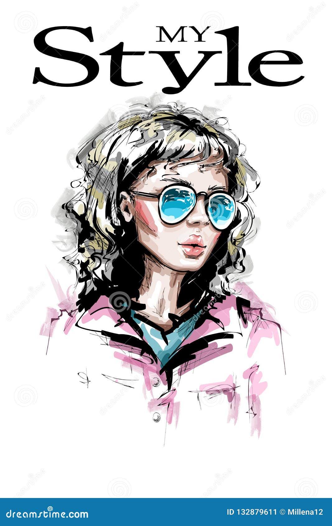 aceba41dc Jovem mulher bonita tirada mão nos óculos de sol Olhar elegante à moda da  menina Retrato