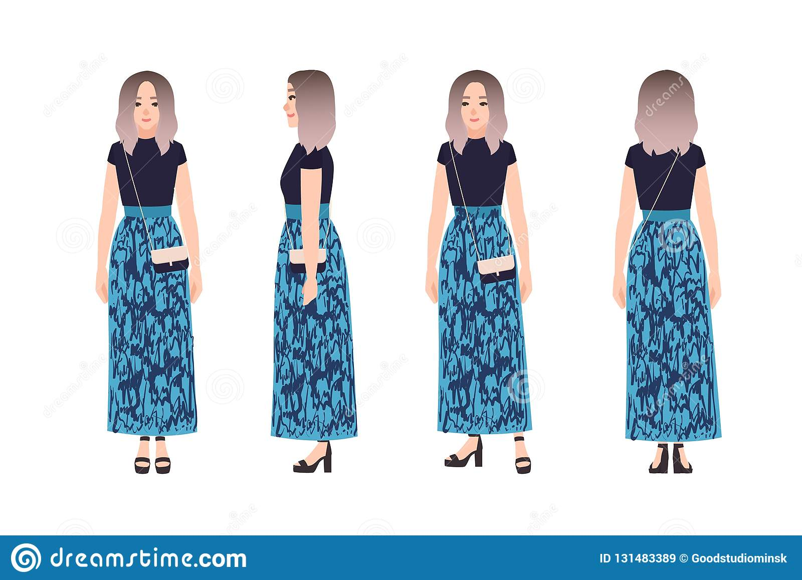 Jovem mulher bonito bonita vestida na roupa na moda Menina elegante, olhar do estilo da rua Personagem de banda desenhada fêmea