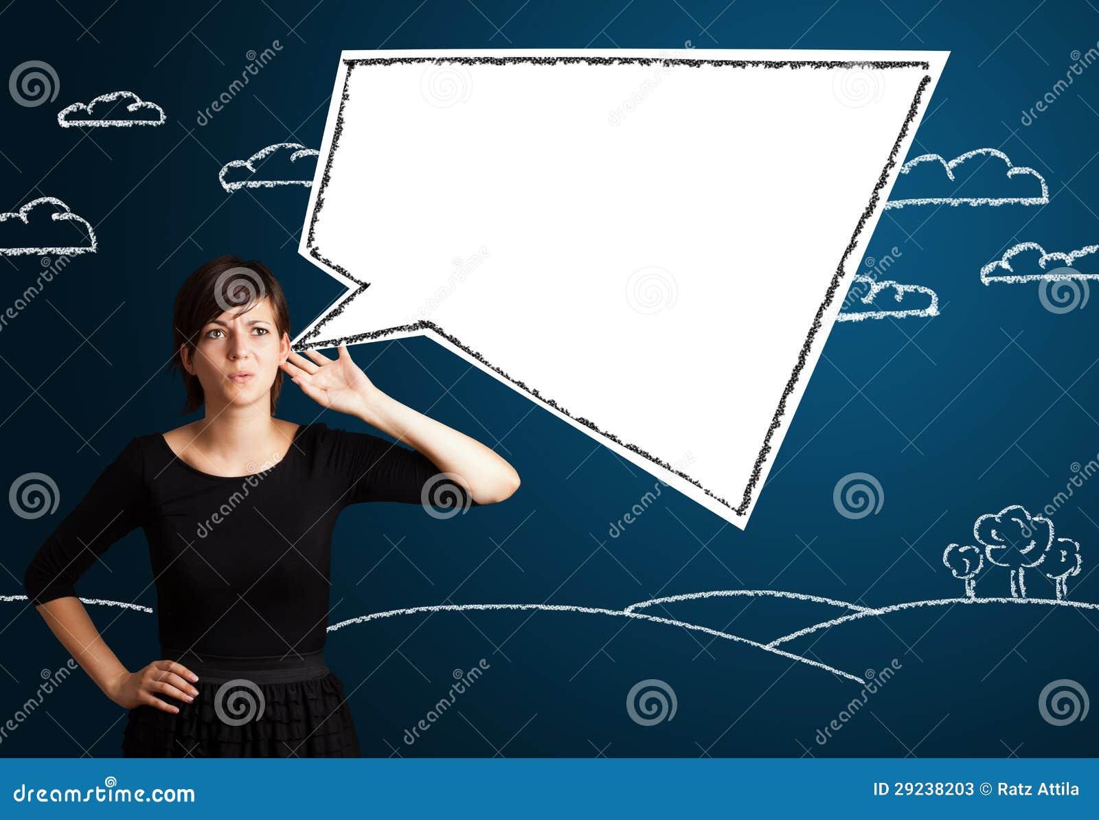 Download Jovem Mulher Com Bolha Moderna Abstrata Do Discurso Imagem de Stock - Imagem de sonho, fundo: 29238203