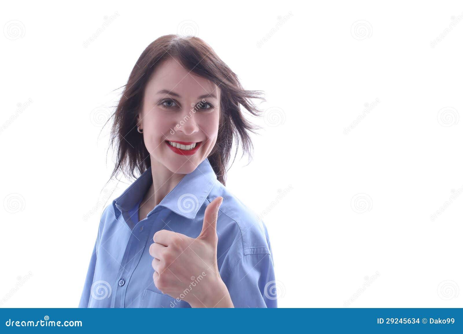 Download Jovem Mulher Com Polegar Acima Foto de Stock - Imagem de anunciar, sucesso: 29245634