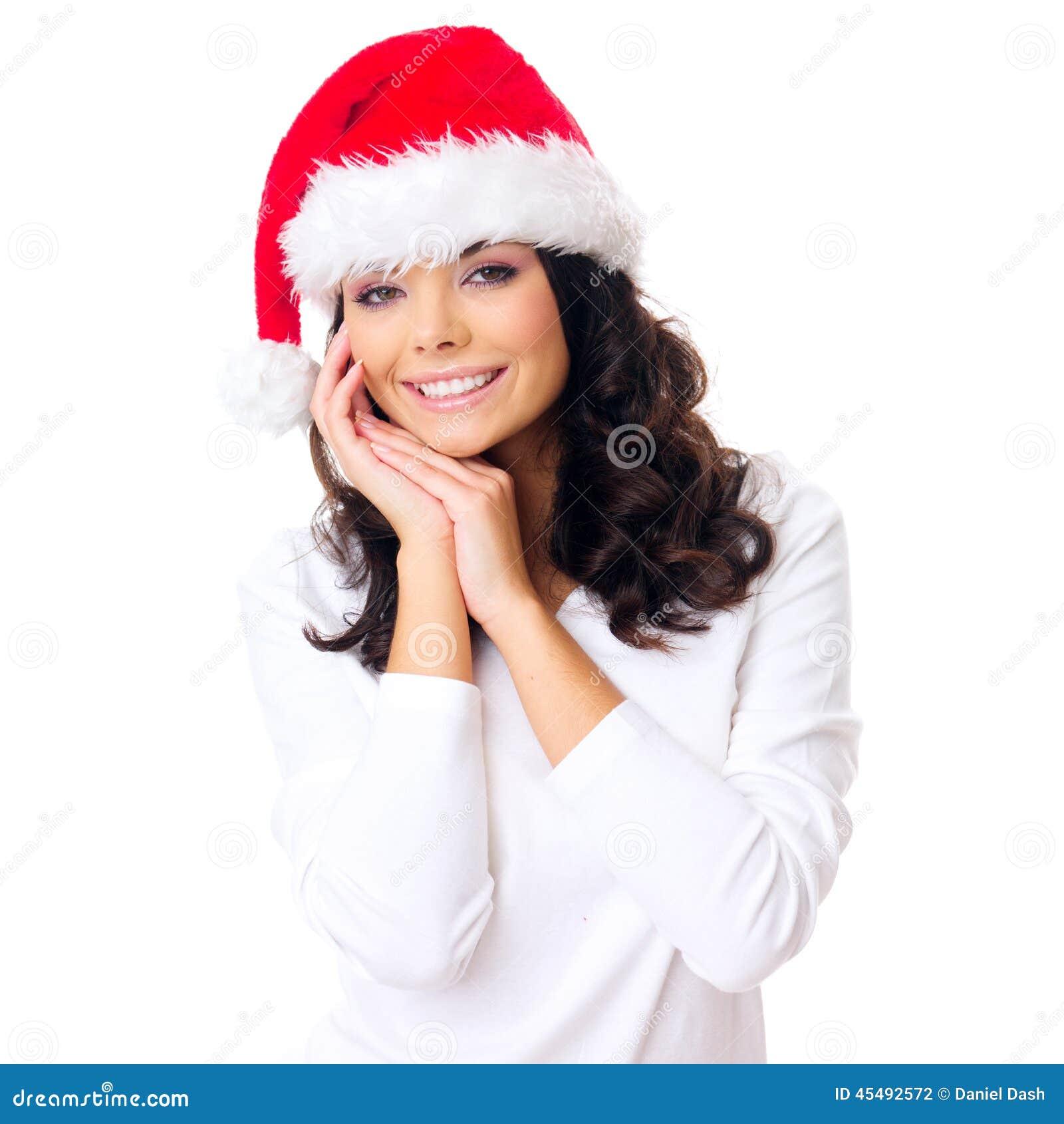 Jovem mulher com um sorriso lindo em Santa Hat