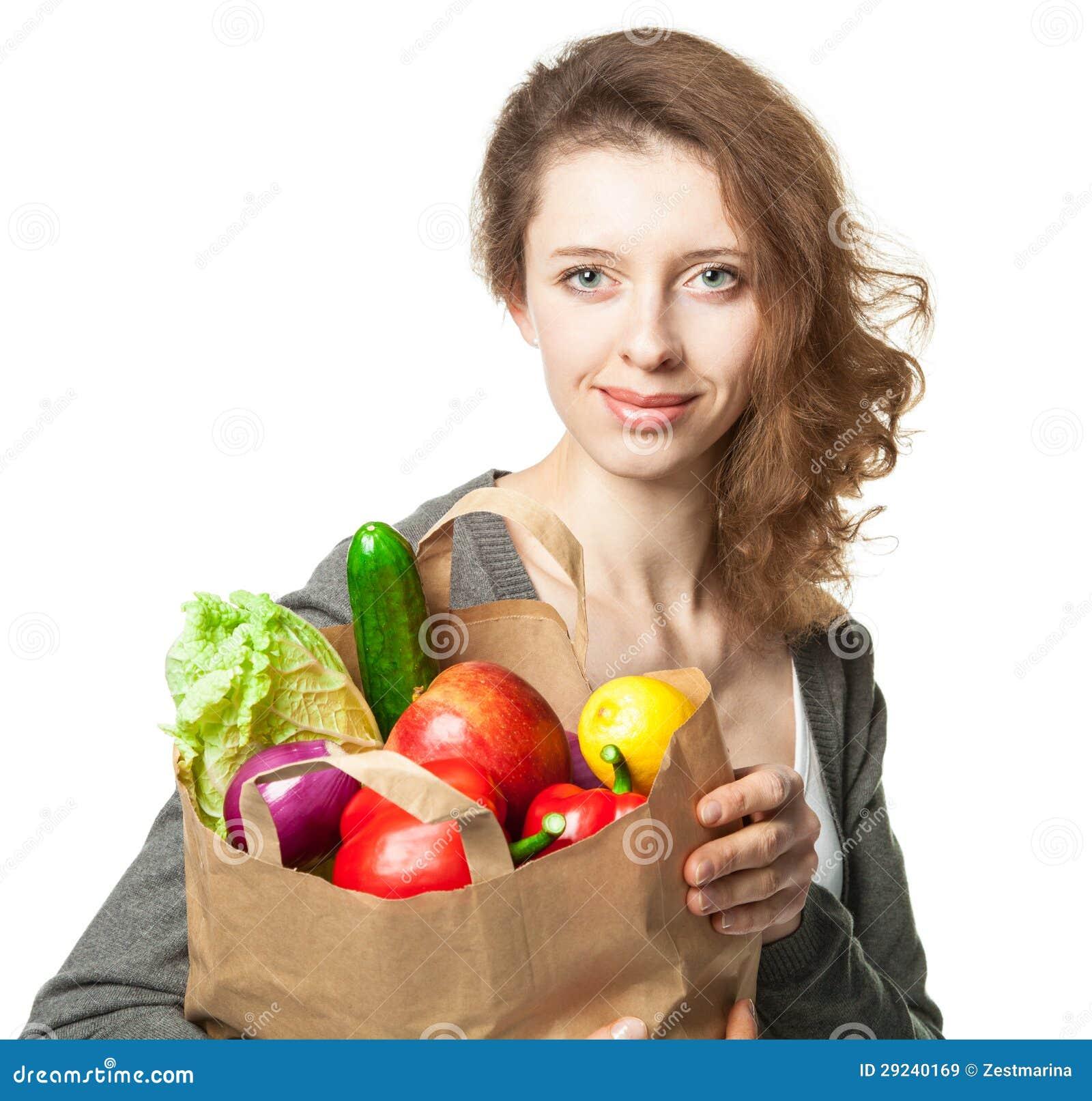 Download Jovem Mulher De Sorriso Com Vegetais E Frutos No Saco De Compras Imagem de Stock - Imagem de posing, comércio: 29240169