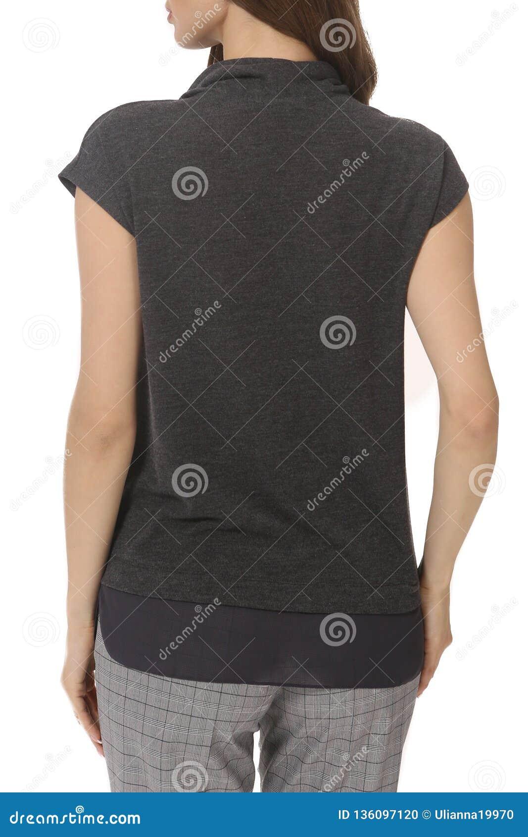 Jovem Mulher Do Estudante Com A Menina Modelo Na Blusa Curto