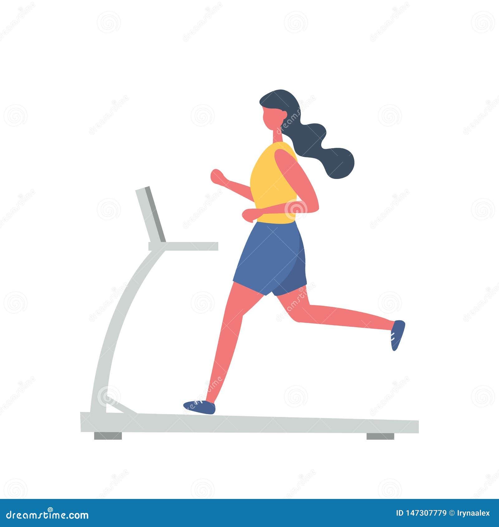 A jovem mulher em um uniforme desportivo est? correndo em uma escada rolante Estilo liso engra?ado