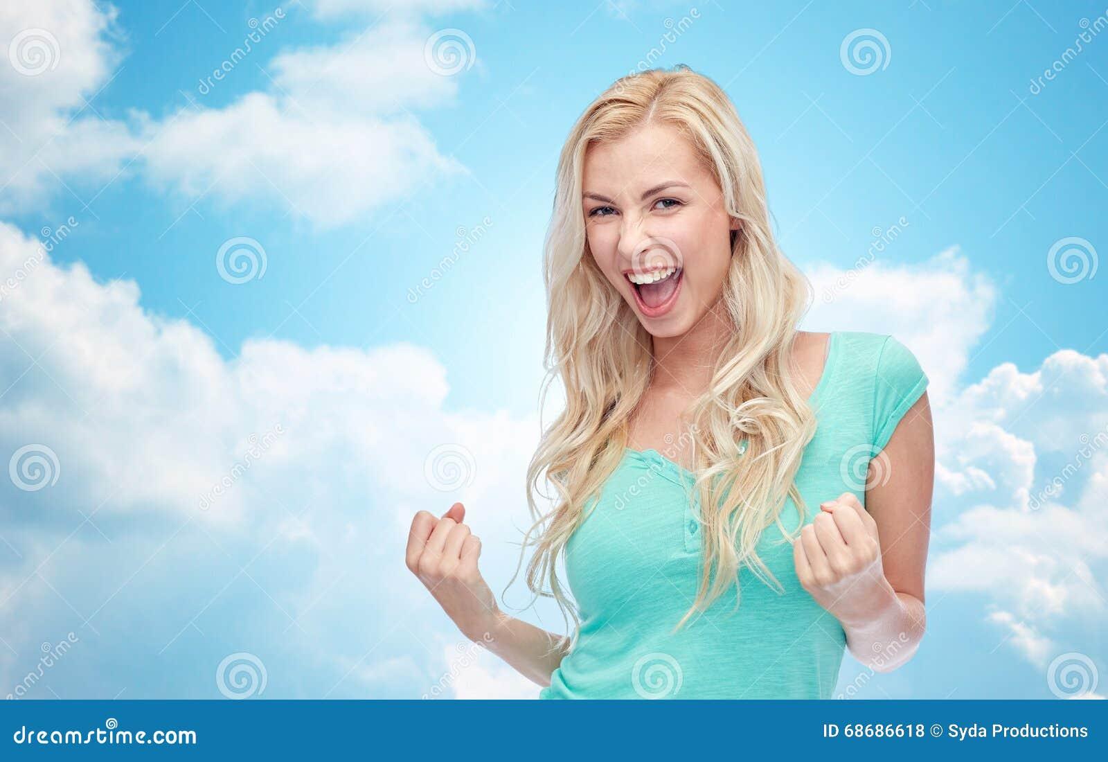 Imagens De Stock Jovem Mulher Feliz Ou Menina Adolescente Que Comemoram Vitória
