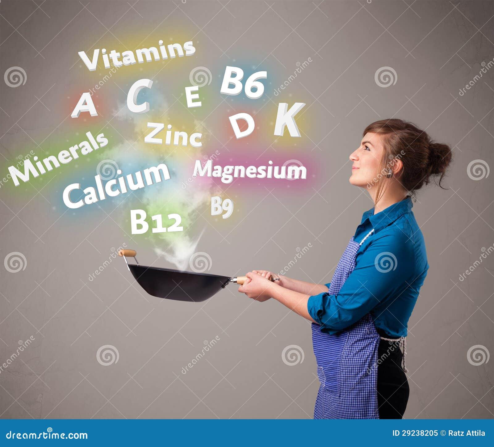 Download Jovem Mulher Que Cozinha Vitaminas E Minerais Imagem de Stock - Imagem de conceitos, cozinha: 29238205