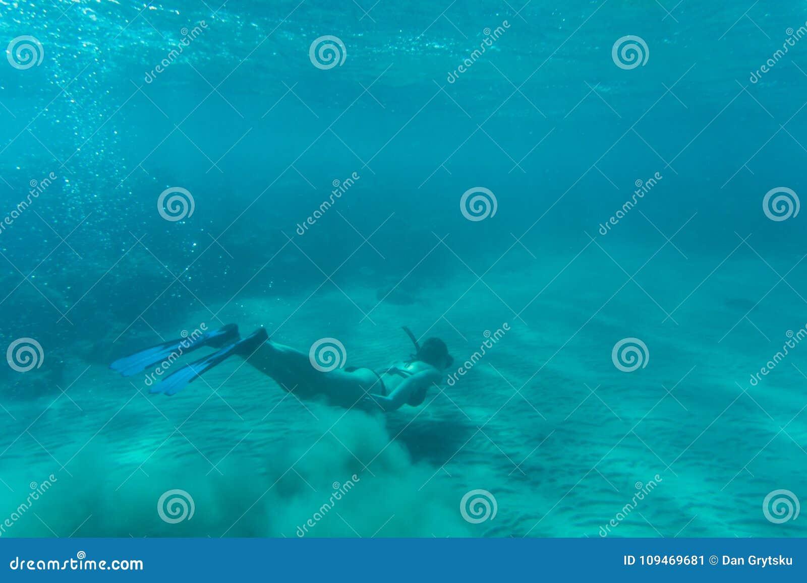 bdc57e5bf Jovem Mulher Que Mergulha Sobre O Recife De Corais No Mar Tropical ...