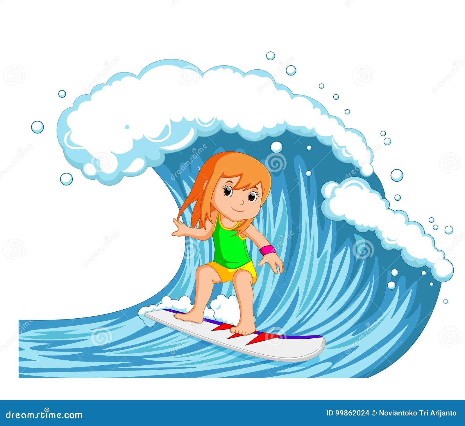 Jovem mulher que surfa com onda grande