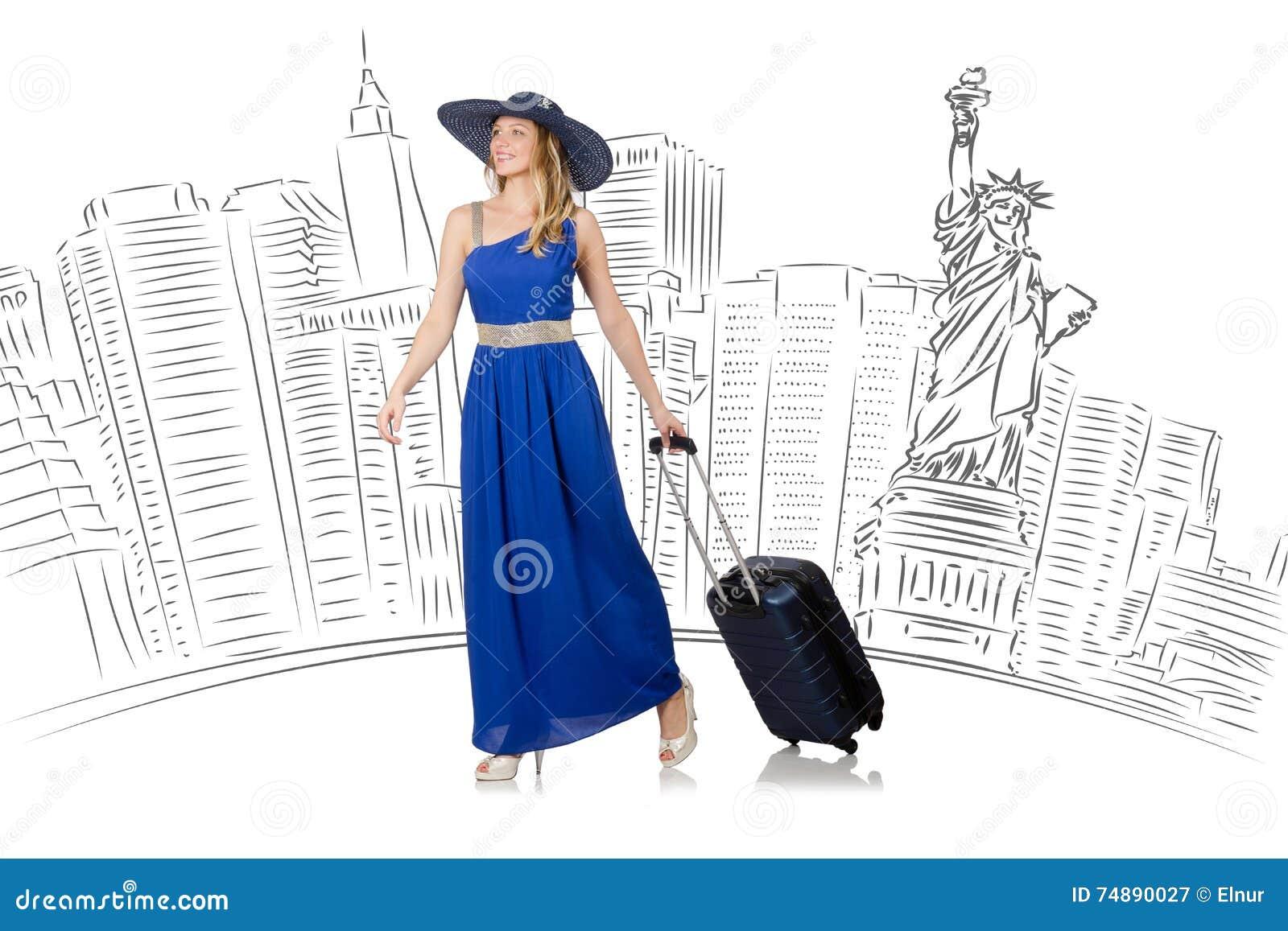 A jovem mulher que viaja aos EUA