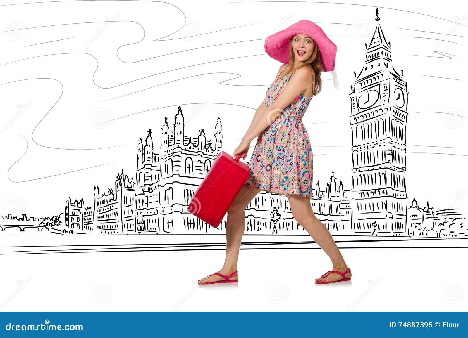 A jovem mulher que viaja a Londres no Reino Unido
