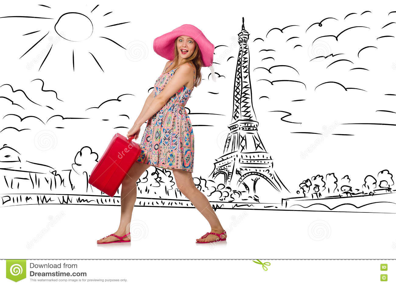 A jovem mulher que viaja a Paris