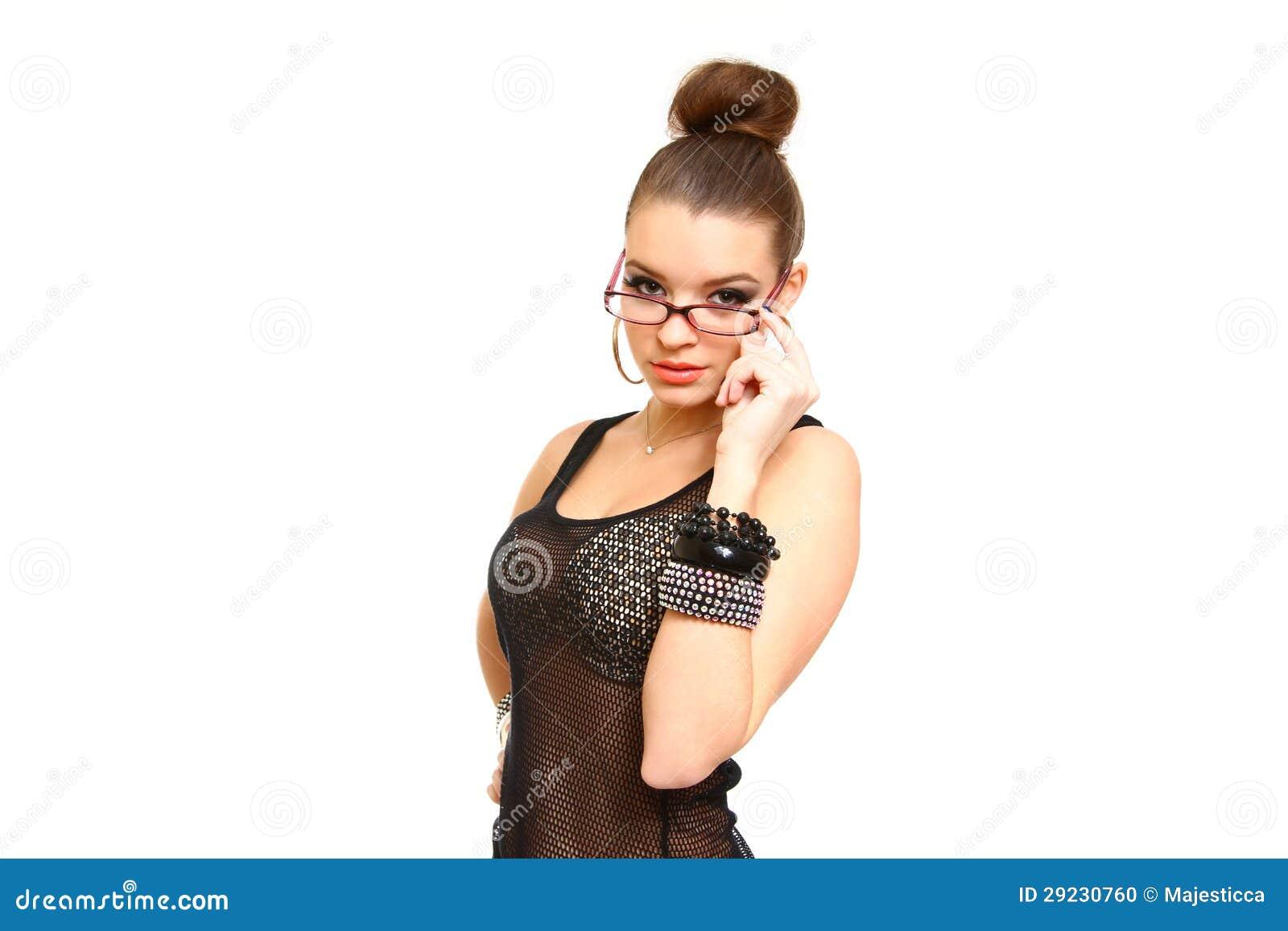 Download Jovem Mulher Sedutor Com Os Vidros Isolados No Branco Foto de Stock - Imagem de mãos, couro: 29230760