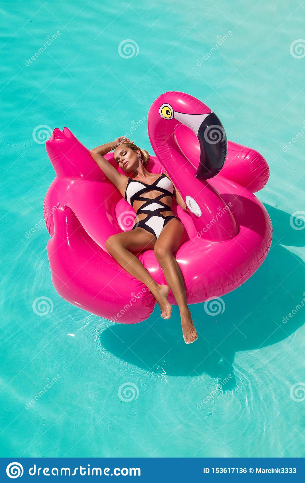 Jovem mulher  sexy , surpreendente bonita em uma piscina que senta-se em um flamejante cor-de-rosa inflável e que ri, corpo bronz