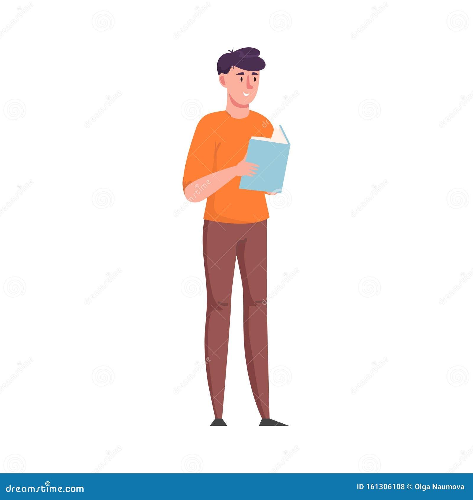 Joven Parado Y Leyendo Un Libro Con La Portada Azul Ilustracion Vectorial En Un Estilo De Caricatura Plano Ilustracion Del Vector Ilustracion De Libro Joven 161306108