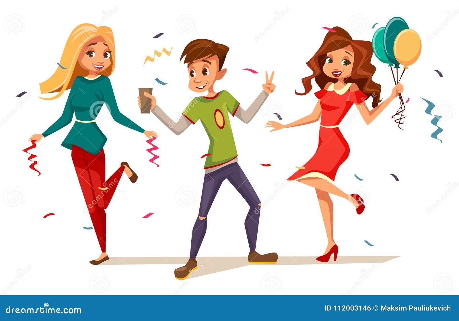 Jovens adolescentes que dançam na ilustração do vetor do partido dos caráteres das crianças dos meninos e das meninas dos desenho