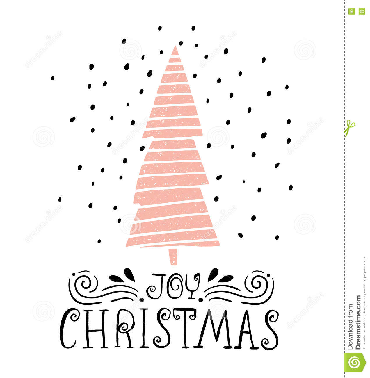 Joy Christmas- Winter Holiday Saying. Hand Drawn Greeting Card With ...