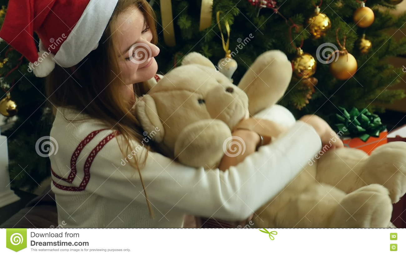 Cute Christmas Gifts For Girlfriend.Joy Of Receiving Christmas Gifts Stock Video Video Of Girl