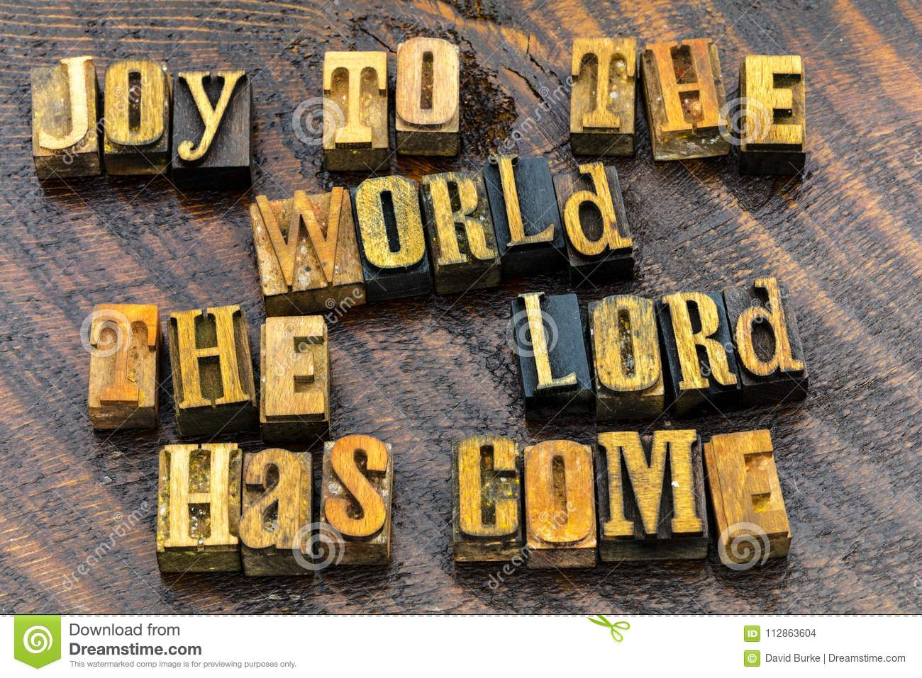 Joy To The World Greeting Religious Stock Photo Image Of Wood