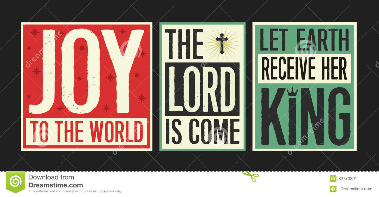 The Lord Is Come Vintage Christmas Poster Vector Illustration | CartoonDealer.com #82772868