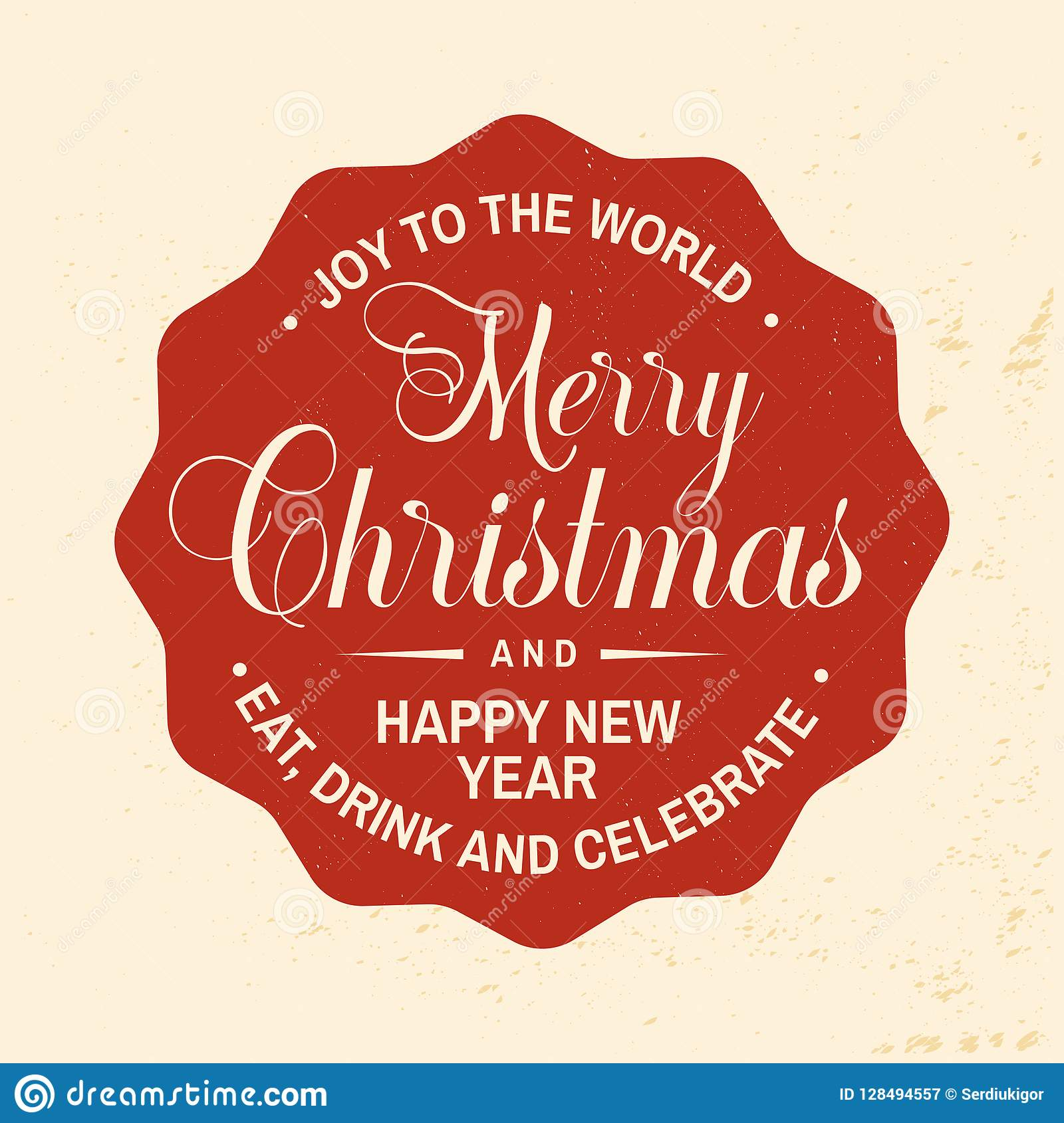 Merry Christmas And Happy New Year Stamp Sticker Vector
