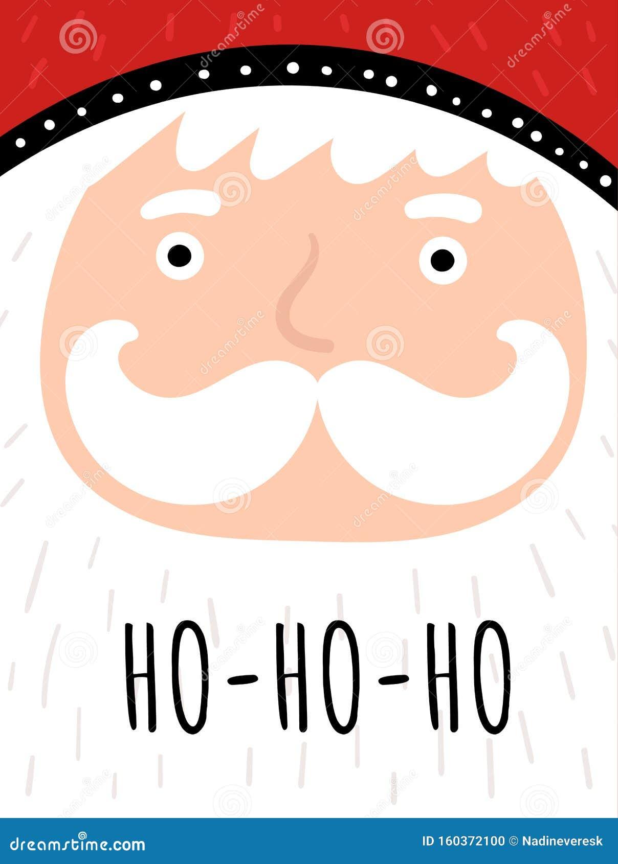 Joyeuse Carte De Noël Avec Joli Père Noël, Flocons De Neige, Texte