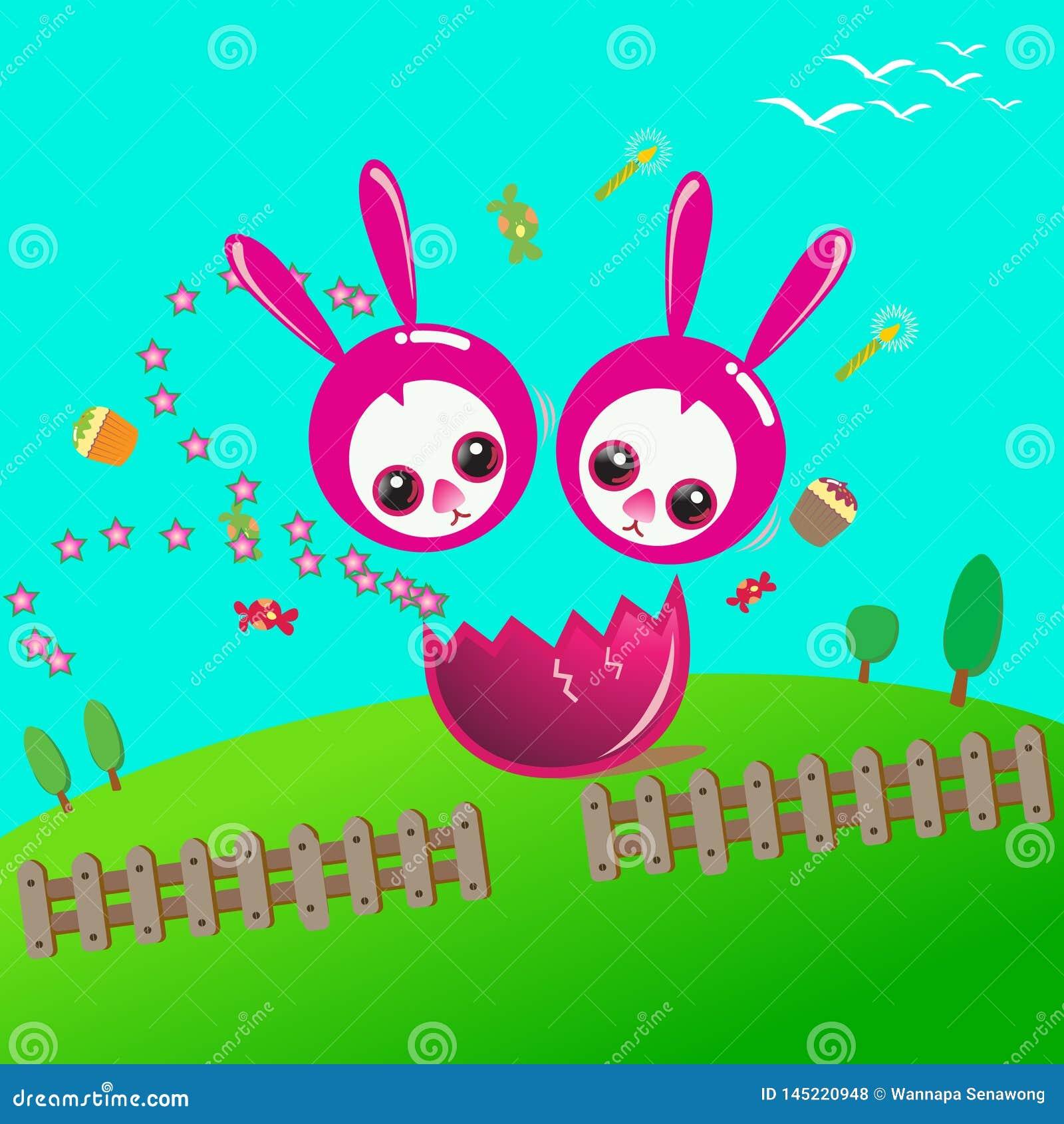 Joyeuses Pâques avec le lapin de duo