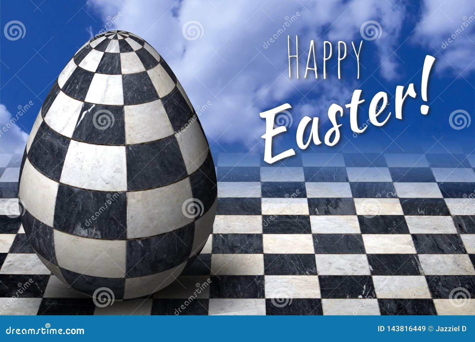 Joyeuses Pâques, carte de voeux pascale avec l oeuf à carreaux à la mode de 3D pâques
