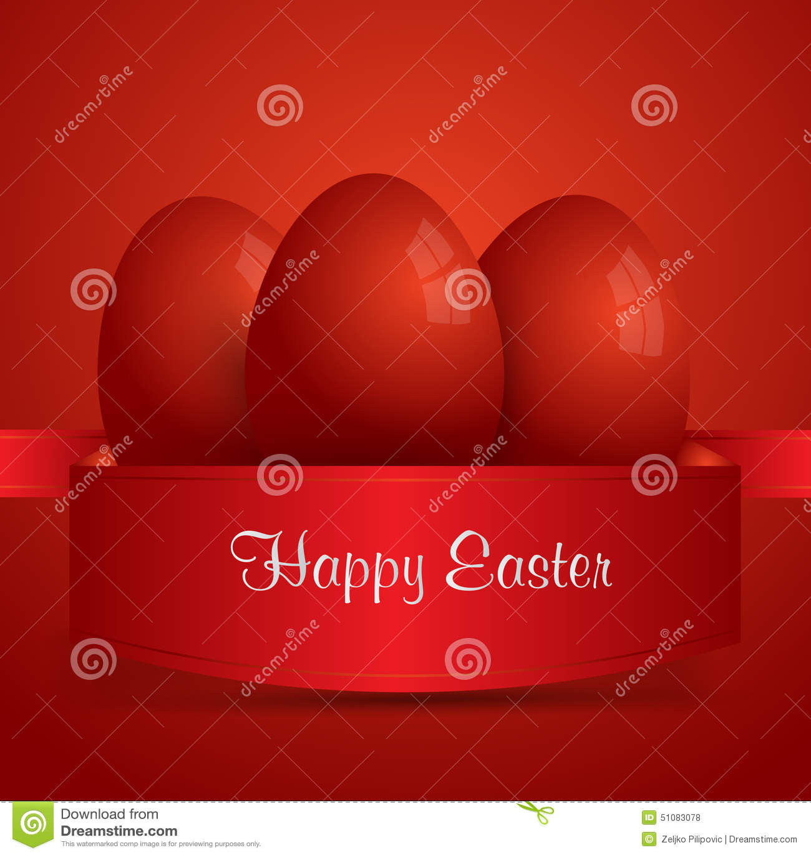 Joyeuses Pâques Oeufs de pâques rouges enveloppés dans le ruban rouge Backgro rouge