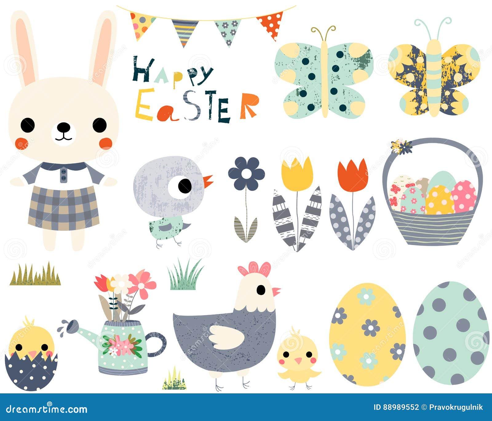 Joyeuses Pâques réglées avec les animaux mignons