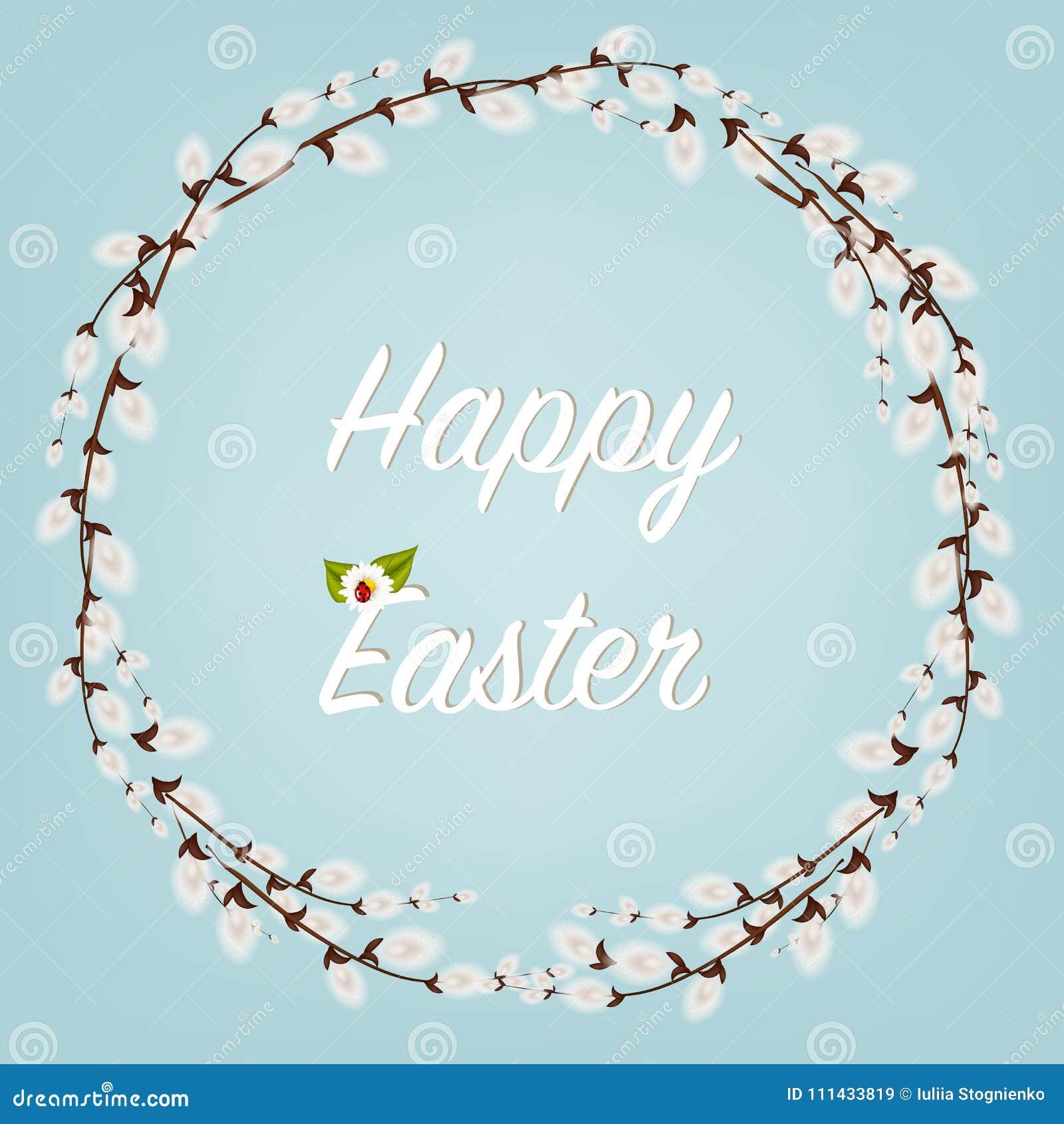 Joyeuses Pâques Pâques tresse avec Willow Branches avec des fleurs et des oeufs Décoration de vacances sur le fond blanc