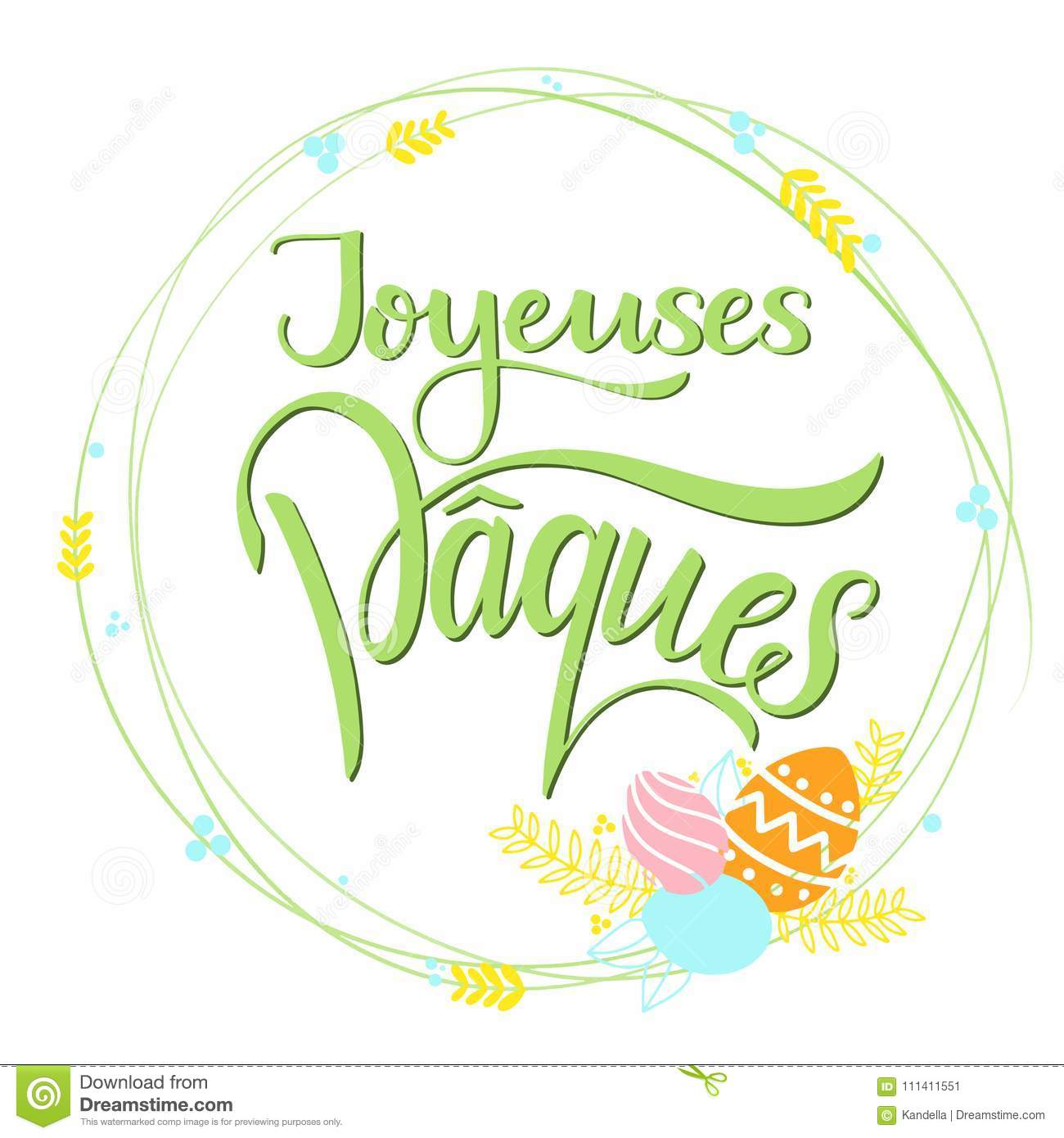 Joyeuses Paques Colorful Lettering Stock Vector Illustration Of