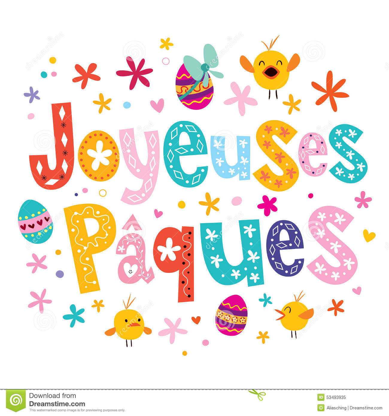 Joyeuses paques happy easter in french greeting card stock vector download comp m4hsunfo