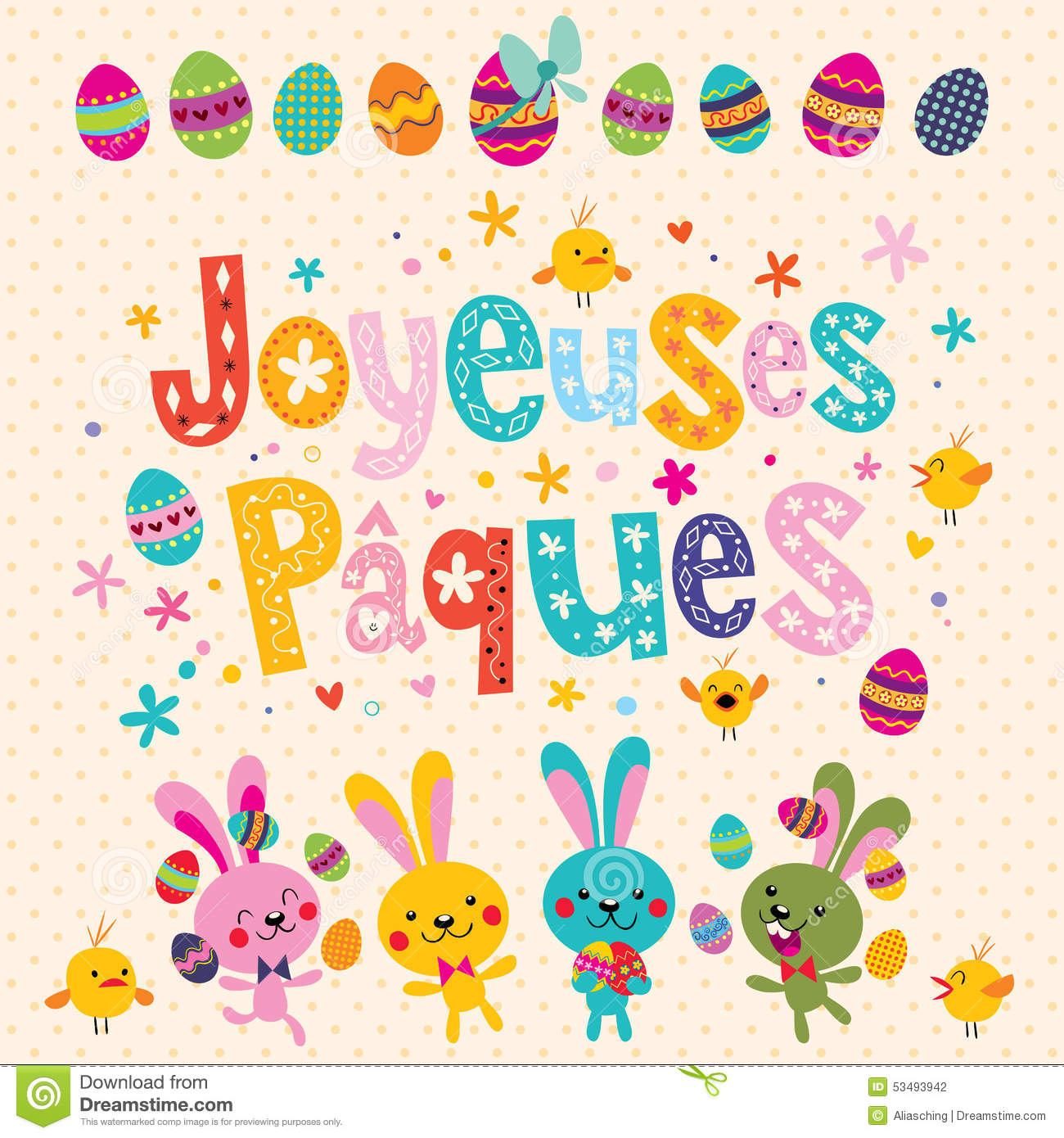 Joyeuses Paques Happy Easter In French Greeting Card With