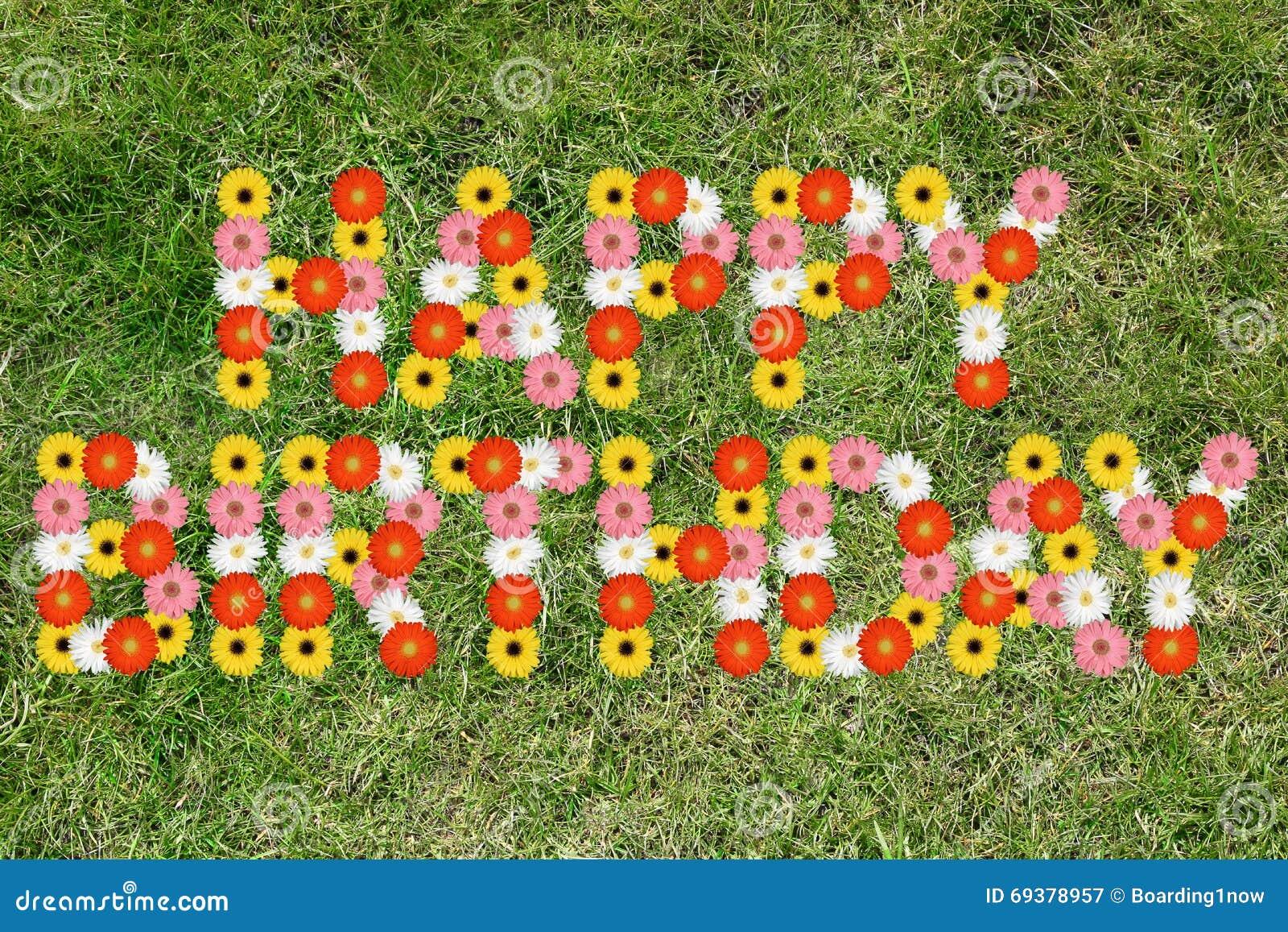 Joyeux Anniversaire Avec Le Pre De Nature De Fleur De Fleurs Image
