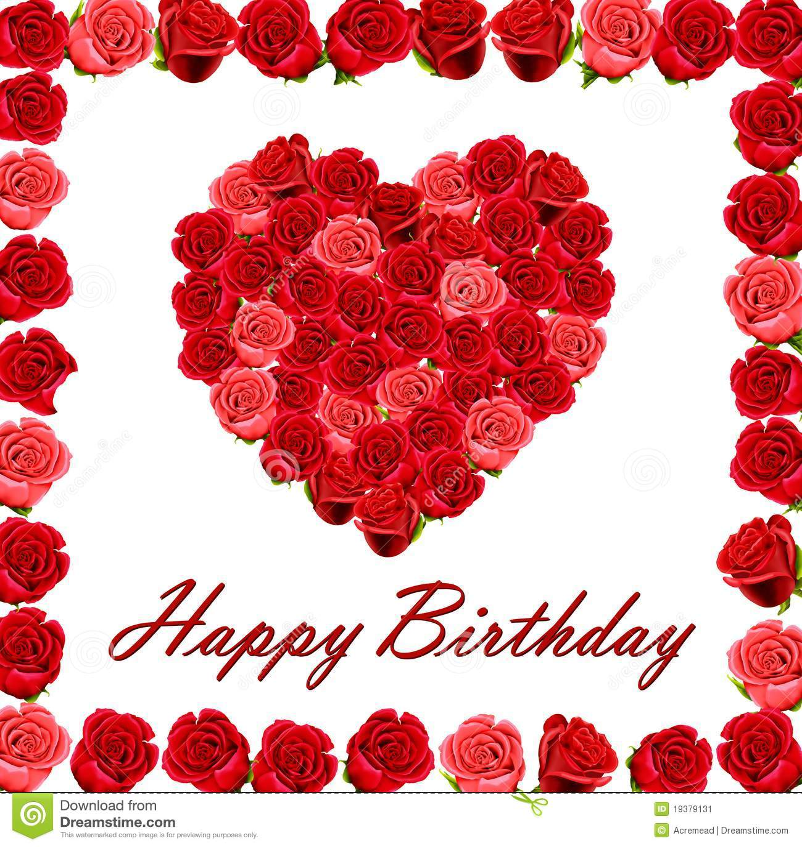 Joyeux anniversaire avec un coeur des roses image stock image 19379131 - Coeur avec des photos ...
